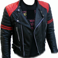 handmade men baleck and red leather jacket with quality zipper