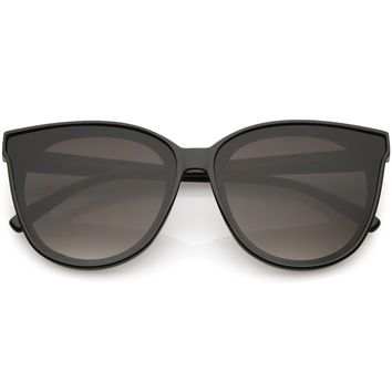 Oversize Cat Eye Sunglasses Neutral Color Flat Lens 60mm