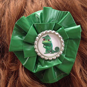 Tangled Chameleon Pascal Greeb Duct Tape Hair Clip by PyrateWench