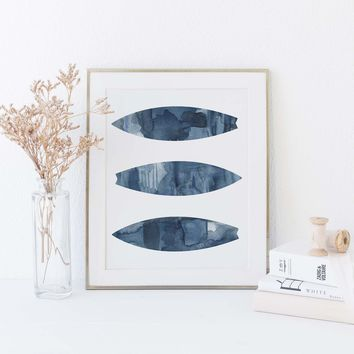 Indigo Watercolor Surfboards Modern Beach Art Print
