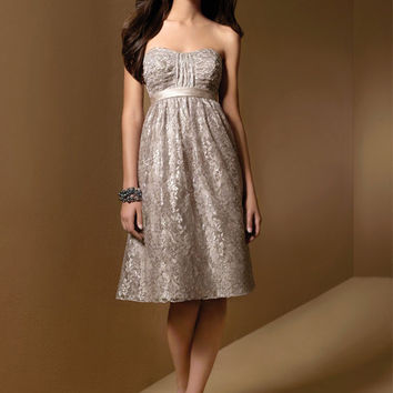 Alfred Angelo 7012 Cafe Size 12 Short shimmer lace bridesmaid dress, cocktail dress