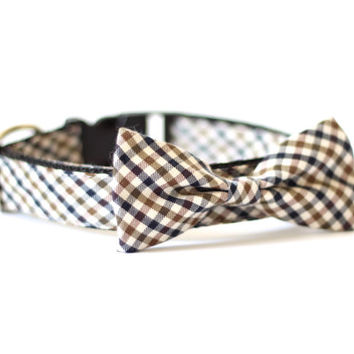 New Color! Chestnut in Fall, Designer dog collars, Bow Tie Dog and Cat Collar Bow Tie Dog Wedding- Dog Collar, Wedding Dog Collar
