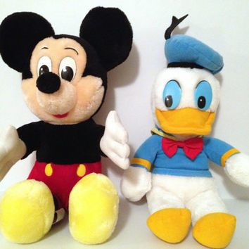 Vintage Disney Mickey Mouse And Donald Duck Plushes