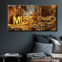 "Large 26x49"" Box Framed Canvas Print Artwork Stretched Gallery Wrapped Wall Art Painting Hanging Original Decorative Modern Home & Living Decor Music Inscription Loudspeakers Sound Note Gears Setting Musical Instrument Gold Room Office Bedroom Like Paintin"