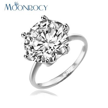 MOONROCY Free Shipping Fashion Cubic Zirconia 3 Carat Crystal Jewelry Promise Wedding Ring Engagement Ring for Women Gift