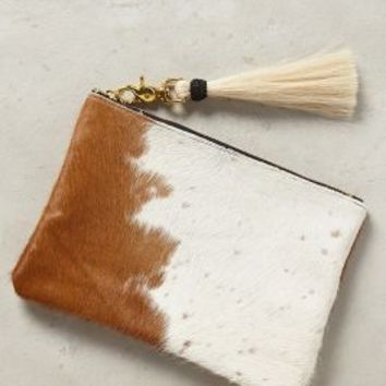 Oliveve Tasseled Calf Hair Pouch in Neutral Size: One Size Clutches