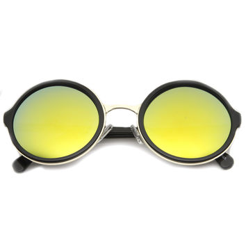 Retro Round Circle Flash Mirror Lens Sunglasses 8929