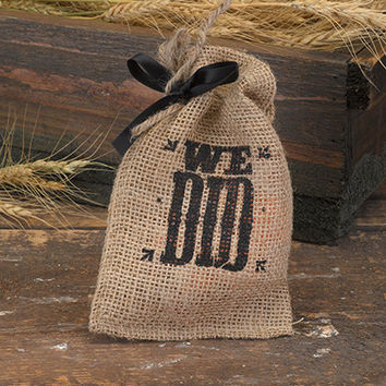 We Did Burlap Favor Bag for Rustic Wedding