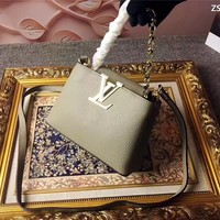 LV Louis Vuitton WOMEN'S LEATHER CAPUCINES CHAIN HANDBAG SHOULDER BAG