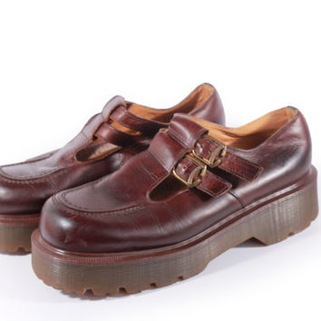 90s Vintage Dr Martens Mary Janes Brown Leather Platform Shoes Hipster Boho Grunge Made in England Women Size US 9 UK 7 EUR 39/40