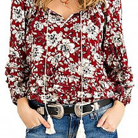 Burgundy and Floral Peasant Top