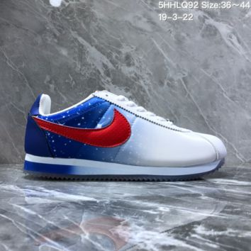 DCCK2 N1130 Nike Wmns Classic Cortez Nylon Prem Nightscape Star Crystal Bottom Running Shoes White Blue Red