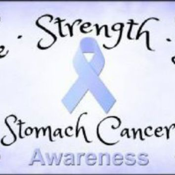 Hope Strength Love Stomach Cancer Awareness  License Plate Tag