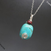 Genuine Turquoise 925 sterling silver necklace, wrapped turquoise stone necklace,turquoise chakra necklace silver turquoise healing necklace