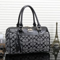 """Coach"" Women Fashion Multicolor Classic Letter Logo Print Big Pillow Handbag Single Shoulder Bag"