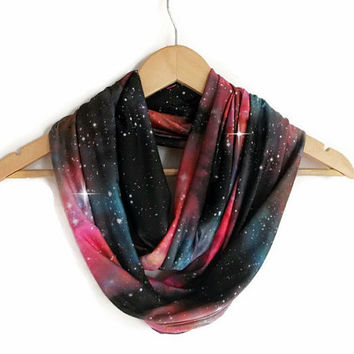 Galaxy Scarf Milky Way, Jersey Infinity Scarf Lightweight Cosmo Galaxy, Winter Trends