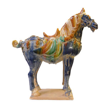 Chinese Blue Pottery Clay Ancient Style Horse Figure cs1436S