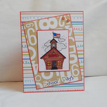 Back to School Card, Paper Handmade Greeting Card, School Time, Gifts For Teachers, Blank Card, Card Shop, Teacher Appreciation, School Days