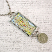 Turkey Map and Coin Pendant Necklace