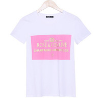 Rose and Cocaine Letter Print Pink Round Neck Short Sleeve Women Cotton Casual Shirt Sweatshirt Top blouse T-shirt b4157