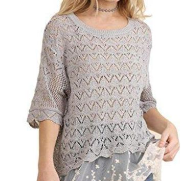 Umgee Women's Lightweight Crochet Knit Sweater With Lace Hem Back Slit and Elbow Length Sleeves