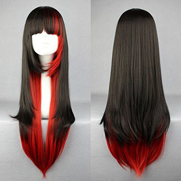 Ellena®Womens/Ladies 68cm Red&Black Color Long Straight Cosplay/Costume/Anime/Party/Bangs Full Sexy Wig (68cm,straight,Red&Black)