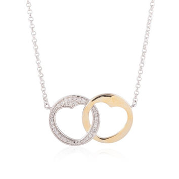 Steling Silver and Gold Plated Interlocking Heart Circles Necklace