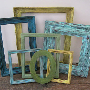 Open Picture Frame Set Of 7 Rustic Beach Wall Art
