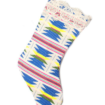 Judith March Aztec Jacquard Christmas Stocking (Blue Multi)