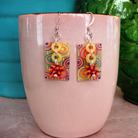 Hypnotic Spiky Abstract Shrinky Dink Earrings