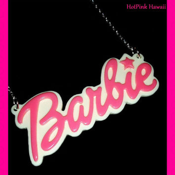 BARBIE Name Plate Silver Plated Necklaces Black Hot Pink Choker Pendant Necklace 8 Colors Styles
