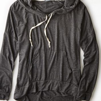 AEO Women's Don't Ask Why Striped Hoodie (Heather Grey)
