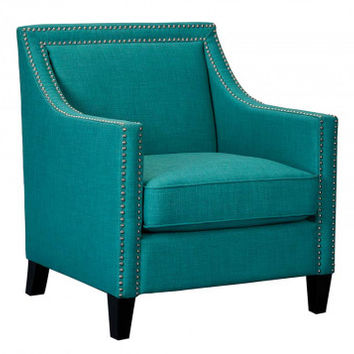 Blue, Green Armchair, with Nailhead Details | Erica Teal Accent Chair | American Freight