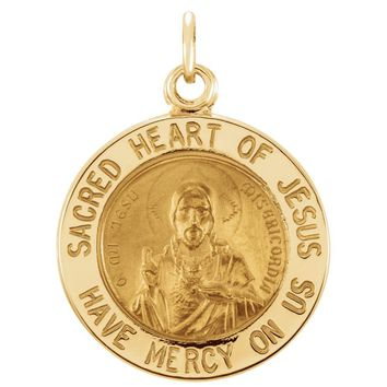 14k Yellow Gold Sacred Heart of Jesus Medal Charm Pendant - 15mm