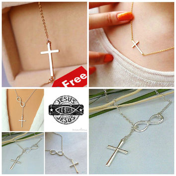 2 Cross Necklaces: Gold & Silver Jesus is Infinite
