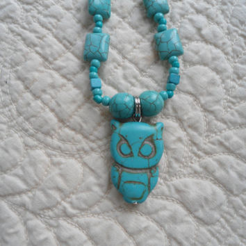 Turquoise Owl Pendant with Assorted Turquoise Beads Long Handmade Necklace The Land of Bridget