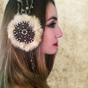Tribal Fusion Headdress, Beaded Bellydance Headpiece Tribal Headdress