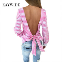 Kimono Striped S-XL Bow Blouses Summer Long Sleeve Blouse Vintage Backless Women Tops Camisas