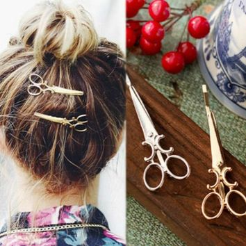 1Piece Korean version of the simple hair accessories simulation scissors personality hairpin jewelry retro headwear clip
