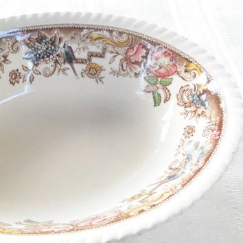 "Vintage Johnson Brothers Devonshire Multi Color 9"" Serving Bowl, Oval, English Bone China, Transferware"