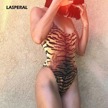 LASPERAL Summer Leopard Print Bodysuit Sexy Tiger Stripes Overalls 2017 Strap Sleeveless Slim Romper Women Jumpsuits Beachwear