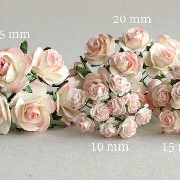 25mm Peach Pink Paper Roses -  10 mulberry paper flowers with wire stems - Ideal for wedding decoration