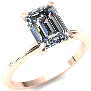 Gracey Emerald Moissanite 4-Claw Prong Engagement Ring