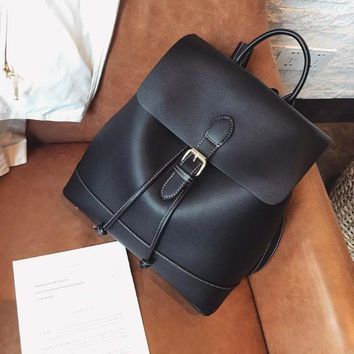 Cool Backpack school Epiphqny Brand Simple String Bagpack PU Leather Backpack for Women Luxury Shoulder Bag Minimalist Cool Drawstring Bagpack AT_52_3