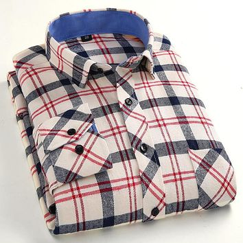 New Arrival Flannel Men Slim Fit Plaid Shirts Men Long Sleeve Dress Shirts Men Formal Business Fashion Shirts