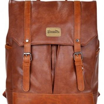 Dzebella Casual Pu Leather School Student Laptop Backpack Brown
