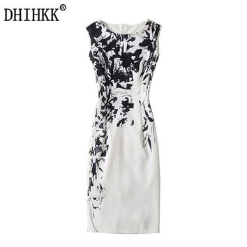 DHIHKK 2017 New Summer Women's Dress Pencil Sexy Bodycon Dresses Female Robe Sleeveless Black and white silhouette Print Dress