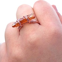 Brown Crystal Quartz Wire Wrapped Ring Aromatherapy Ring Jewelry