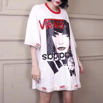adidas x vans women loose casual fashion sequin letter pattern print short sleeve t shirt mini dress