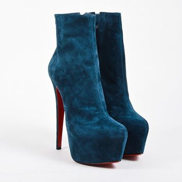 DCCK Blue Christian Louboutin Suede  Daf Booty  Platform Boots